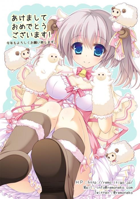 二次 エロ 萌え フェチ けもみみ 羊 着ぐるみ アニマルフード コスプレ モコモコ 2015 正月 干支 二次エロ画像 hitujimusume2015010420