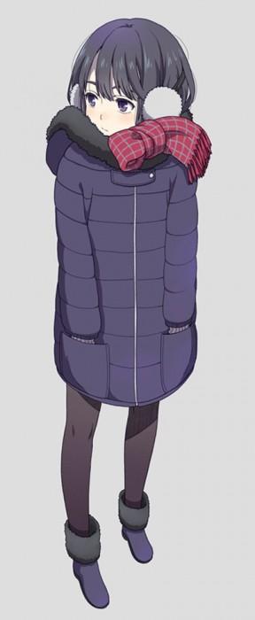 二次 非エロ 萌え フェチ 冬 冬服 イヤーマフ マフラー コード 制服 二次非エロ画像 earmuff2015022815
