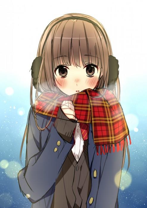 二次 非エロ 萌え フェチ 冬 冬服 イヤーマフ マフラー コード 制服 二次非エロ画像 earmuff2015022828
