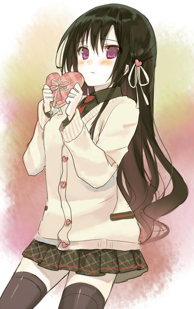 二次 非エロ 萌え フェチ バレンタイン チョコレート 裸リボン プレゼント 裸チョコ 赤面 照れてる 恥ずかしがってる 表情 二次微エロ画像 valentine2015021539