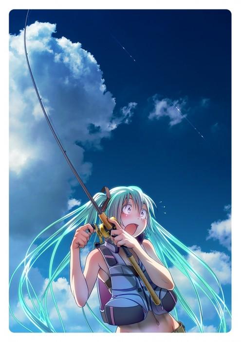 二次 非エロ 萌え 美少女風景 季節 海 川 湖 水着 釣り 釣り竿  釣りキチおばさん 二次非エロ画像 turi2015050110