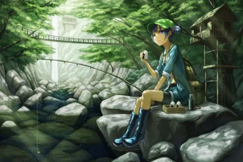 二次 非エロ 萌え 美少女風景 季節 海 川 湖 水着 釣り 釣り竿  釣りキチおばさん 二次非エロ画像 turi2015050117