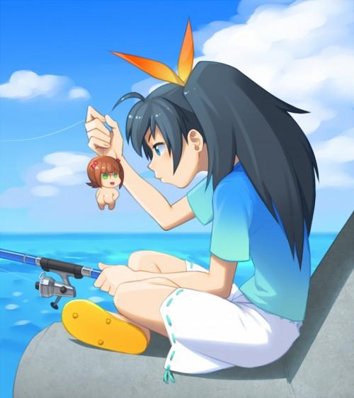 二次 非エロ 萌え 美少女風景 季節 海 川 湖 水着 釣り 釣り竿  釣りキチおばさん 二次非エロ画像 turi2015050138