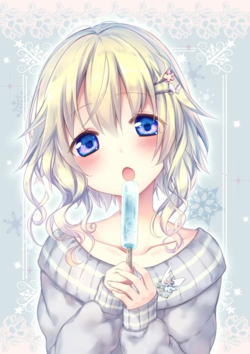 二次 非エロ 萌え フェチ 美少女風景 扇風機 風呂上り 夏 暑い アイスクリーム カキ氷 季節 二次エロ画像 ice2015051533