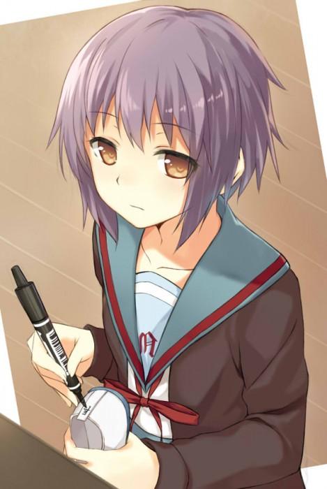 二次 エロ 萌え フェチ 涼宮ハルヒの憂鬱 長門有希ちゃんの消失 長門有希 ショートカット・短髪 紫髪 対有機生命体コンタクト用ヒューマノイド・インターフェース(TFEI) ながもん 制服 二次エロ画像  nagatoyuki2015051947