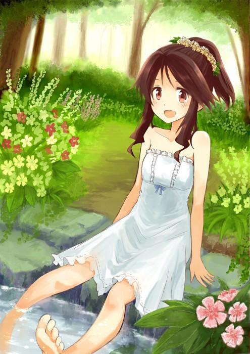二次 エロ 萌え フェチ ワンピース服 白ワンピ サンドレス 透けてる サマードレス 二次エロ画像 shiroonepiece2015052909