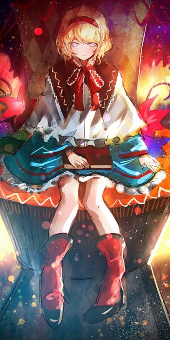 二次 エロ 萌え ゲーム 東方project アリス・マーガトロイド 金髪 短髪 ショートカット 七色の人形使い ヘアバンドリボン ケープ トリコロール ロリス ブーツ 二次エロ画像 alicemargatroid2015071737