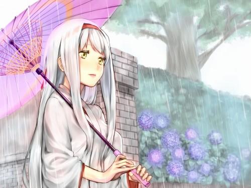 二次 エロ 萌え フェチ 美少女風景 傘 夏 梅雨 紫陽花 花 濡れてる 透けてる 二次エロ画像 ame2015071001