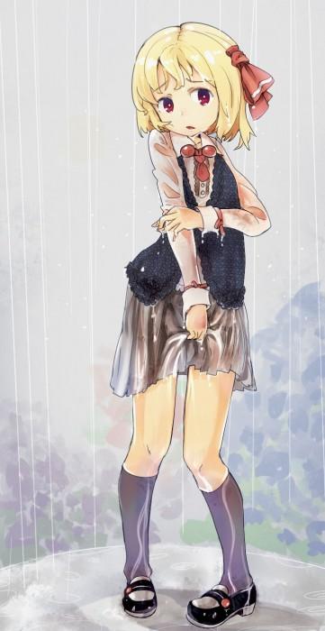 二次 エロ 萌え フェチ 美少女風景 傘 夏 梅雨 紫陽花 花 濡れてる 透けてる 二次エロ画像 ame2015071009