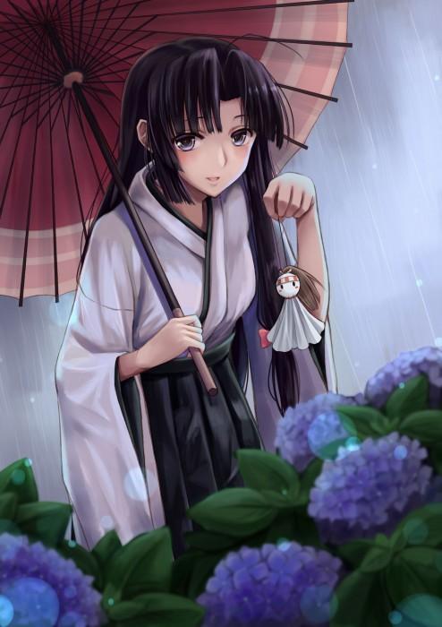 二次 エロ 萌え フェチ 美少女風景 傘 夏 梅雨 紫陽花 花 濡れてる 透けてる 二次エロ画像 ame2015071037