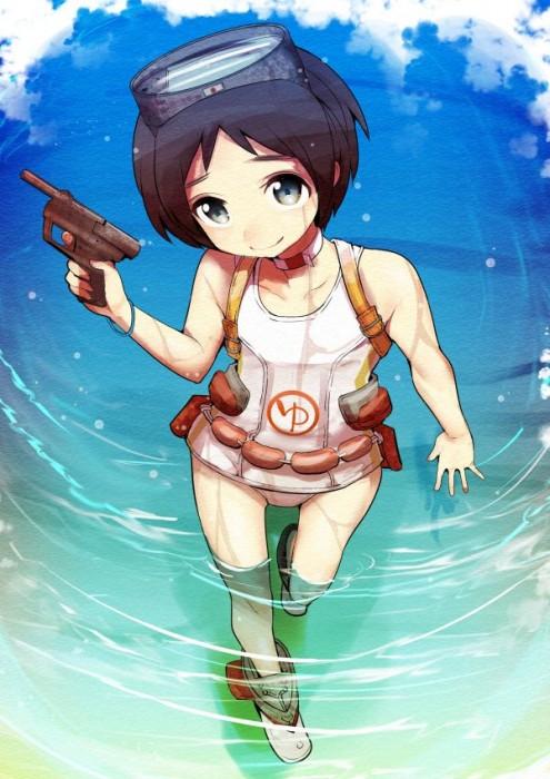 二次 エロ 萌え フェチ 水着 スク水 白スク スクール水着 透け透け 服が濡れて透けてる  透け乳首 危ない水着 二次エロ画像 shirosukumizu2015070922