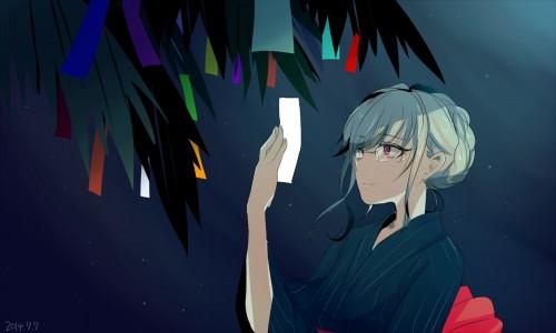二次 非エロ 萌え 夏 七夕 笹 織姫 彦星 夜 短冊 美少女風景 浴衣 二次非エロ画像 tanabata2015070703