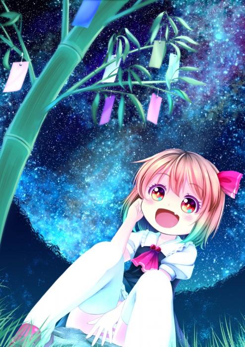 二次 非エロ 萌え 夏 七夕 笹 織姫 彦星 夜 短冊 美少女風景 浴衣 二次非エロ画像 tanabata2015070716