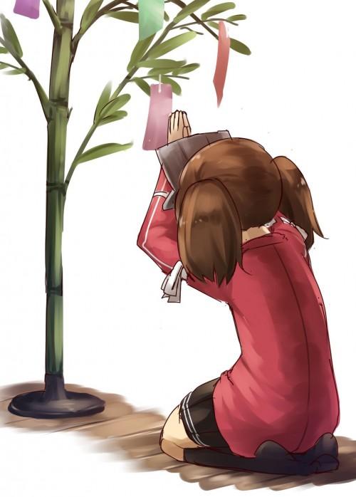 二次 非エロ 萌え 夏 七夕 笹 織姫 彦星 夜 短冊 美少女風景 浴衣 二次非エロ画像 tanabata2015070723