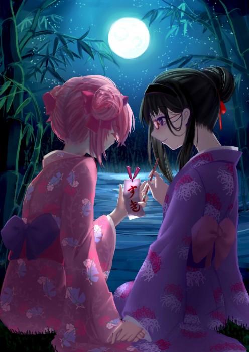 二次 非エロ 萌え 夏 七夕 笹 織姫 彦星 夜 短冊 美少女風景 浴衣 二次非エロ画像 tanabata2015070735