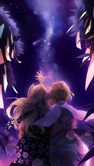 二次 非エロ 萌え 夏 七夕 笹 織姫 彦星 夜 短冊 美少女風景 浴衣 二次非エロ画像 tanabata2015070736