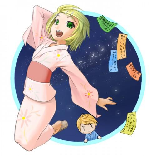 二次 非エロ 萌え 夏 七夕 笹 織姫 彦星 夜 短冊 美少女風景 浴衣 二次非エロ画像 tanabata2015070741