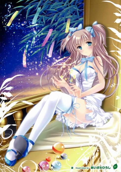 二次 非エロ 萌え 夏 七夕 笹 織姫 彦星 夜 短冊 美少女風景 浴衣 二次非エロ画像 tanabata2015070744