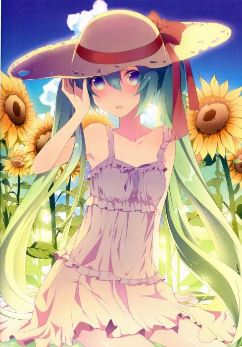 二次 非エロ 萌え フェチ 向日葵 花 夏 季節 美少女風景 二次非エロ画像 himawari2015080701
