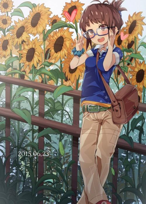 二次 非エロ 萌え フェチ 向日葵 花 夏 季節 美少女風景 二次非エロ画像 himawari2015080707