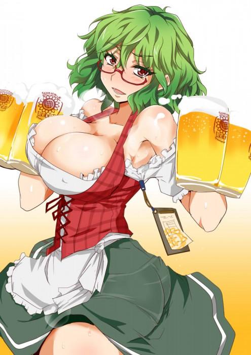 二次 非エロ 萌え フェチ お酒 ビール ジョッキ 缶ビール ディアンドル 酔っ払い 泥酔 民族衣装 オクトーバーフェス ドイツ 谷間 バイエルン 二次微エロ画像 dirndl2015101632