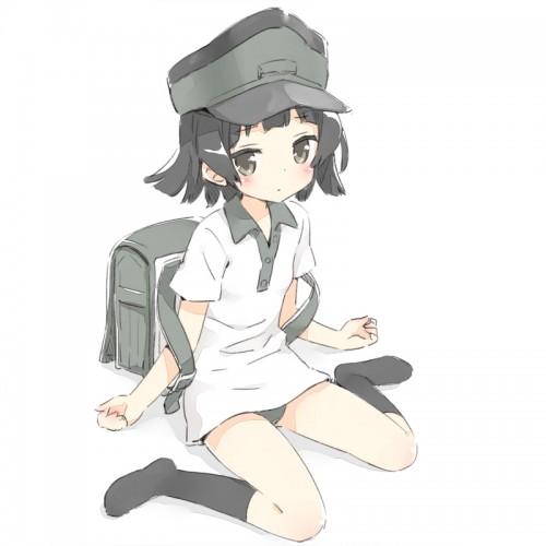 二次 非エロ 萌え ゲーム 艦隊これくしょん 艦これ 擬人化 霰 ロリ 黒髪 ショートカット・短髪 んちゃ、とかは言いません。・・・よろしく 駆逐艦朝潮型9番艦 二次微エロ画像 ararekancolle2015111702