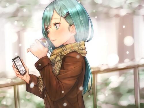 二次 非エロ 萌え 美少女風景 季節 冬 冬服 マフラークリスマス サンタクロース 雪だるま 雪 雪景色 雪の結晶 壁紙 二次非エロ画像 yuki2015111501