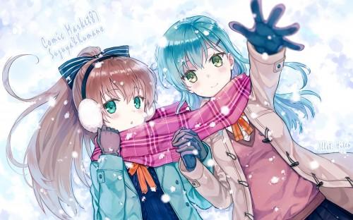 二次 非エロ 萌え 美少女風景 季節 冬 冬服 マフラークリスマス サンタクロース 雪だるま 雪 雪景色 雪の結晶 壁紙 二次非エロ画像 yuki2015111537