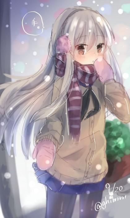 二次 非エロ 萌え 美少女風景 季節 冬 冬服 マフラークリスマス サンタクロース 雪だるま 雪 雪景色 雪の結晶 壁紙 二次非エロ画像 yuki2015111548