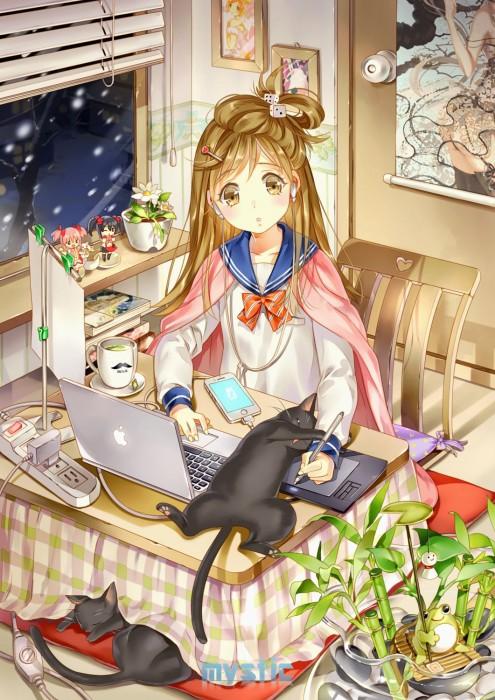 二次 萌え フェチ エロ 冬 コタツ みかん 寝ている 寝顔 和室 食事風景 SDキャラ チビキャラ 正月 炬燵 二次エロ画像 kotatsu2015120204