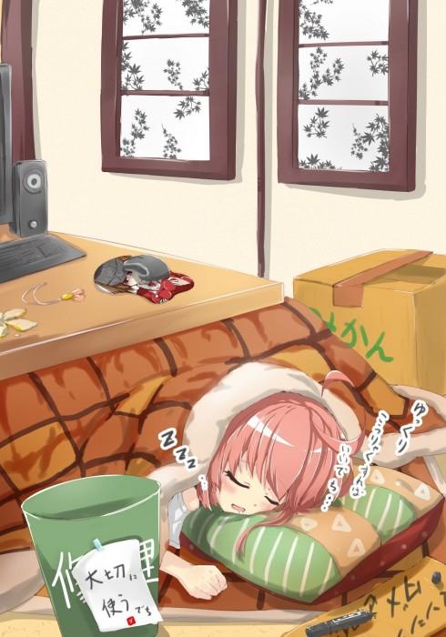 二次 萌え フェチ エロ 冬 コタツ みかん 寝ている 寝顔 和室 食事風景 SDキャラ チビキャラ 正月 炬燵 二次エロ画像 kotatsu2015120229