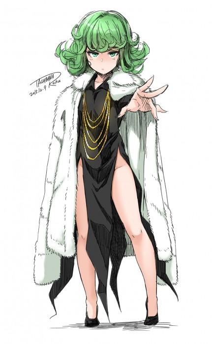 二次 エロ 萌え フェチ アニメ 漫画 ワンパンマン 戦慄のタツマキ 緑髪 黒ドレス スリット 天然パーマ 28歳のロリババア はいてない ノーパン 二次エロ画像 tatsumaki2015121112