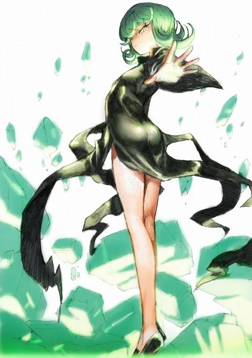 二次 エロ 萌え フェチ アニメ 漫画 ワンパンマン 戦慄のタツマキ 緑髪 黒ドレス スリット 天然パーマ 28歳のロリババア はいてない ノーパン 二次エロ画像 tatsumaki2015121114