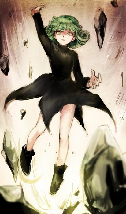 二次 エロ 萌え フェチ アニメ 漫画 ワンパンマン 戦慄のタツマキ 緑髪 黒ドレス スリット 天然パーマ 28歳のロリババア はいてない ノーパン 二次エロ画像 tatsumaki2015121125