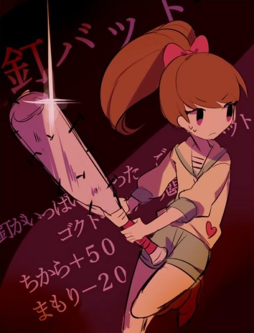 二次 非エロ 萌え フェチ スポーツ少女 野球 帽子 バット 武装少女 釘バット 二次非エロ画像 bat2016010422