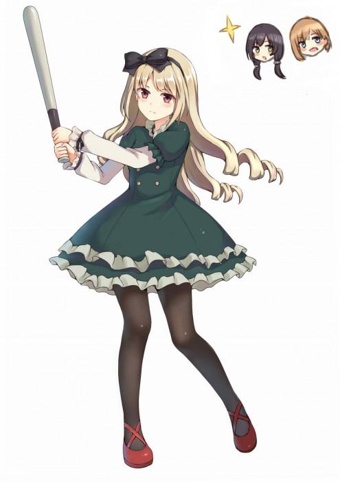 二次 非エロ 萌え フェチ スポーツ少女 野球 帽子 バット 武装少女 釘バット 二次非エロ画像 bat2016010443