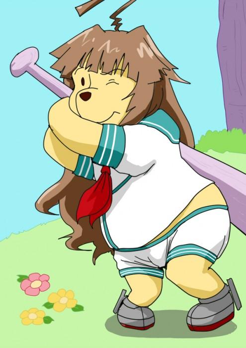 二次 非エロ 萌え フェチ スポーツ少女 野球 帽子 バット 武装少女 釘バット 二次非エロ画像 bat2016010447