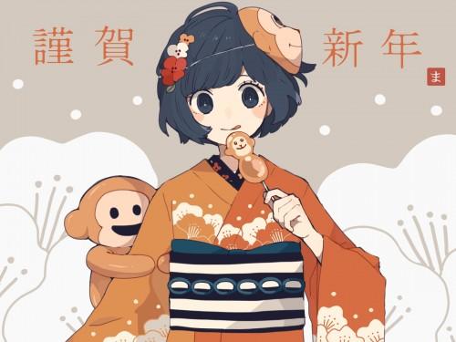 二次 萌え 非エロ フェチ 和服 着物 振袖 お正月 謹賀新年 二次微エロ画像 kimono10020160111035