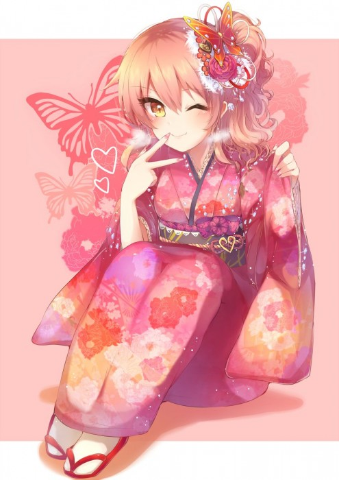 二次 萌え 非エロ フェチ 和服 着物 振袖 お正月 謹賀新年 二次微エロ画像 kimono10020160111056