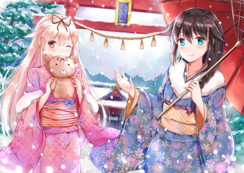 二次 萌え 非エロ フェチ 和服 着物 振袖 お正月 謹賀新年 二次微エロ画像 kimono10020160111068