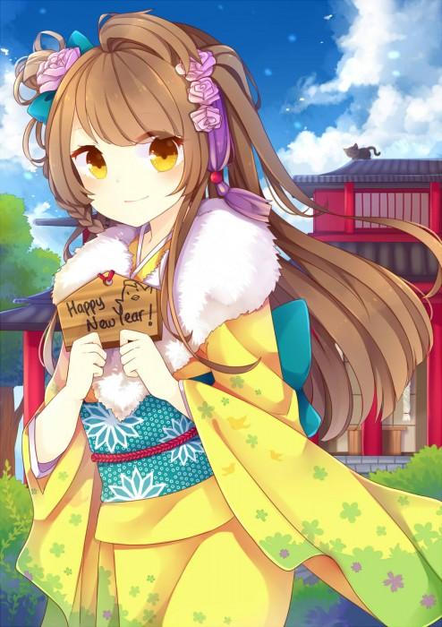 二次 萌え 非エロ フェチ 和服 着物 振袖 お正月 謹賀新年 二次微エロ画像 kimono10020160111074