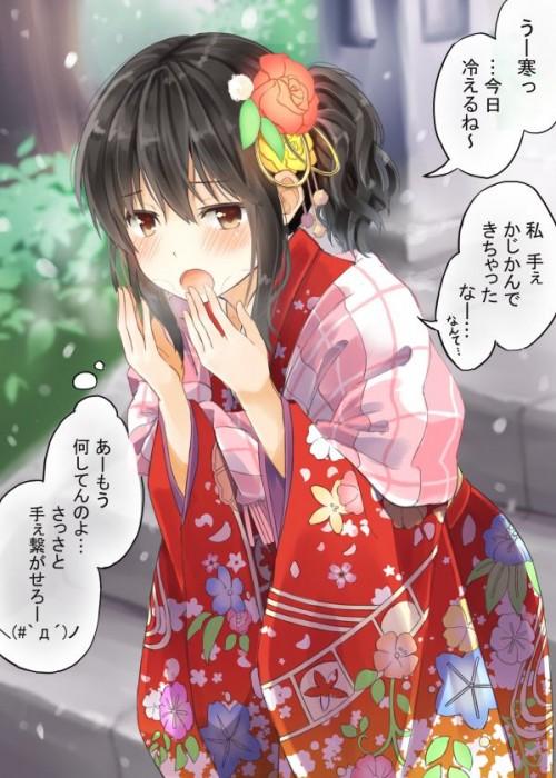 二次 萌え 非エロ フェチ 和服 着物 振袖 お正月 謹賀新年 二次微エロ画像 kimono10020160111078
