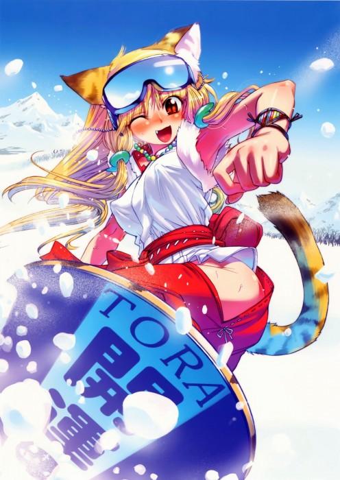 二次 非エロ 萌え 美少女風景 季節 冬 冬服 雪 雪山 スキー スノーボード スケート スキーウェア ウインタースポーツ 二次微エロ画像 wintersports2016012221