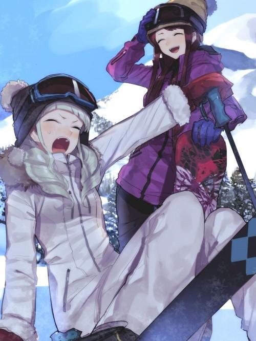 二次 非エロ 萌え 美少女風景 季節 冬 冬服 雪 雪山 スキー スノーボード スケート スキーウェア ウインタースポーツ 二次微エロ画像 wintersports2016012238
