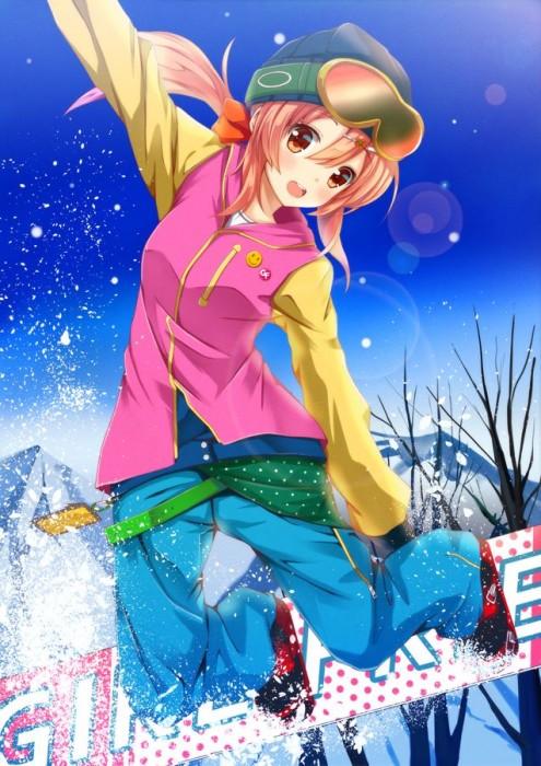 二次 非エロ 萌え 美少女風景 季節 冬 冬服 雪 雪山 スキー スノーボード スケート スキーウェア ウインタースポーツ 二次微エロ画像 wintersports2016012244