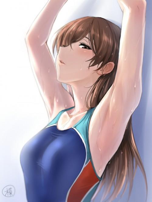 二次 エロ 競泳水着 ハイレグ ワンピース型 萌え フェチ 食い込み スポーツ少女 二次エロ画像 kyoueimizugi2016030805
