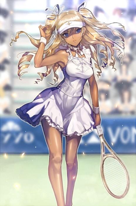 二次 萌え エロ フェチ スポーツ少女 テニスウェア テニスラケット アンダースコート アンスコ バドミントン 見せパン 二次エロ画像 tennis2016042950