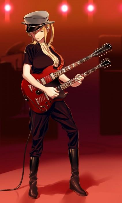 二次 非エロ 萌え 楽器 ヘッドフォン ギター 管楽器 弦楽器 笛 ピアノ ヴァイオリン ドラム 美少女風景 二次非エロ画像 gakki10020160527001