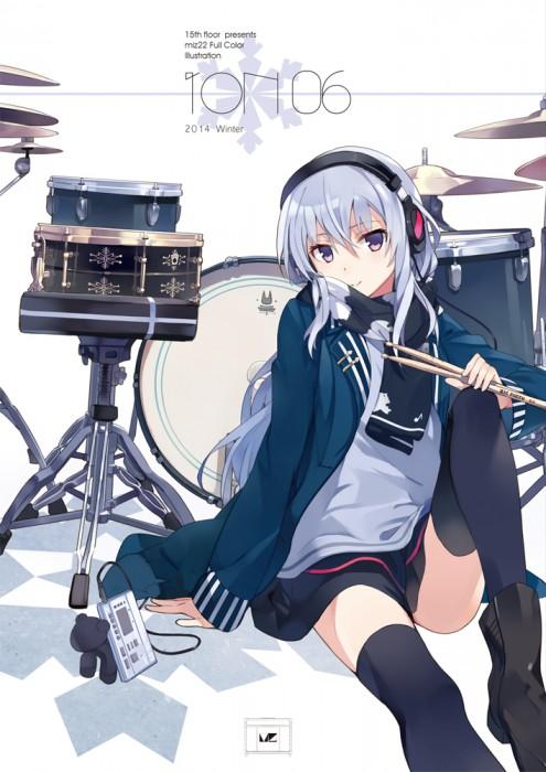 二次 非エロ 萌え 楽器 ヘッドフォン ギター 管楽器 弦楽器 笛 ピアノ ヴァイオリン ドラム 美少女風景 二次非エロ画像 gakki10020160527014