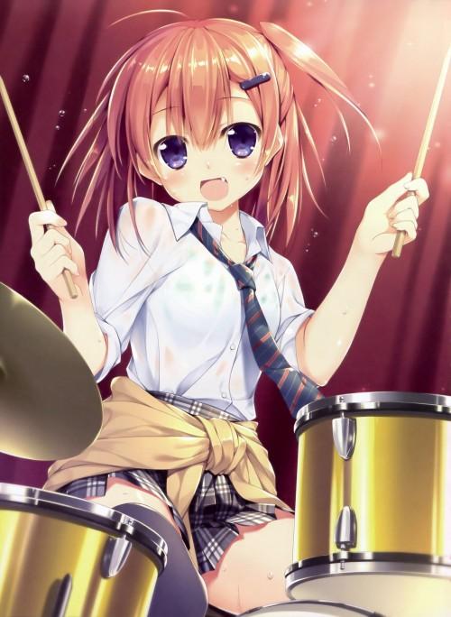 二次 非エロ 萌え 楽器 ヘッドフォン ギター 管楽器 弦楽器 笛 ピアノ ヴァイオリン ドラム 美少女風景 二次非エロ画像 gakki10020160527046